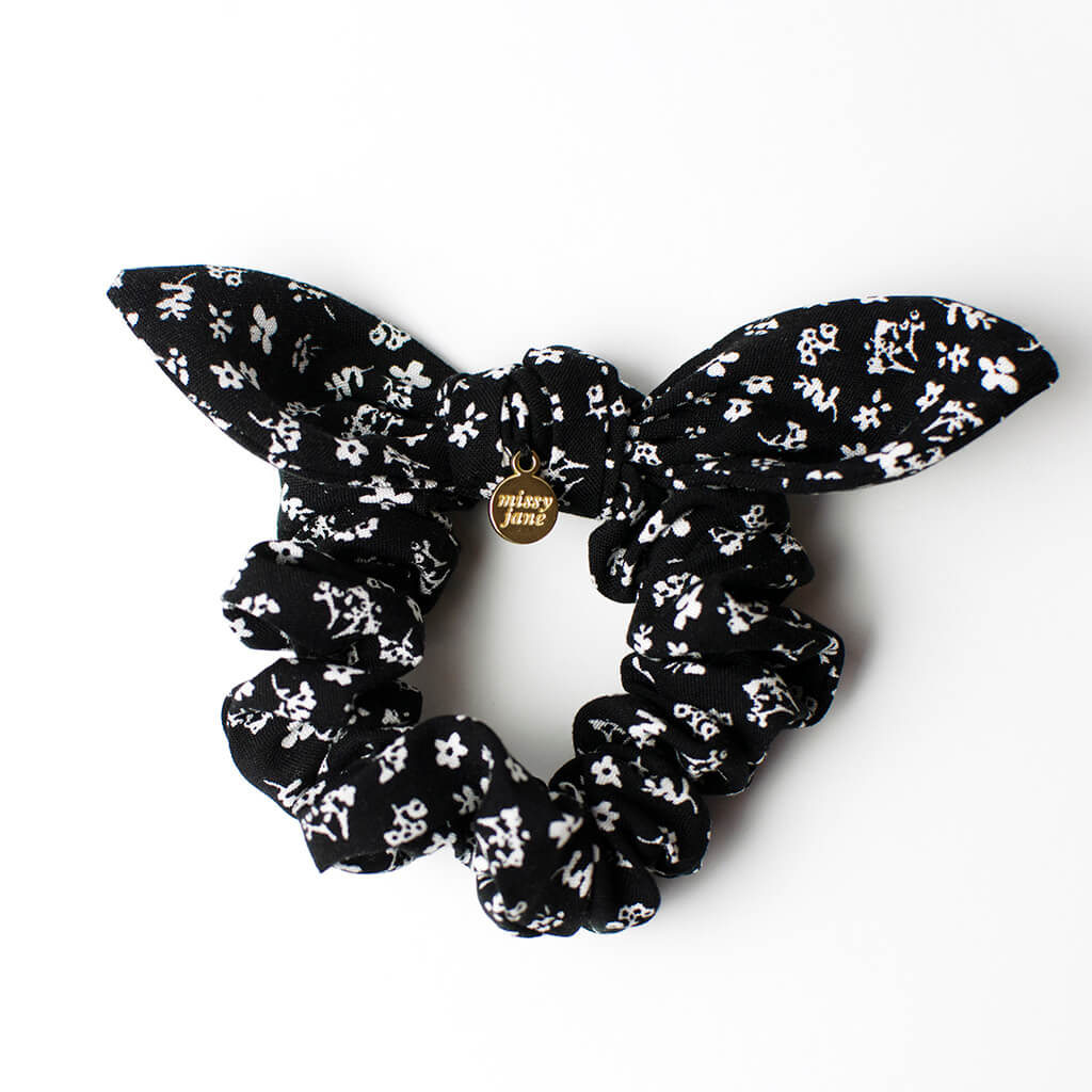 Black Floral Knotted Bow Scrunchie