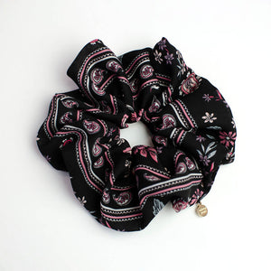 Black Paisley Floral Oversized Scrunchie