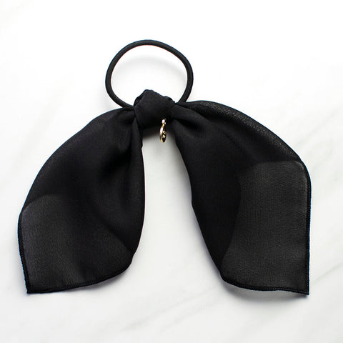 Black Scarf Ponytail Holder