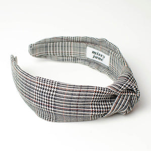 Black and White Glen Plaid Knotted Headband