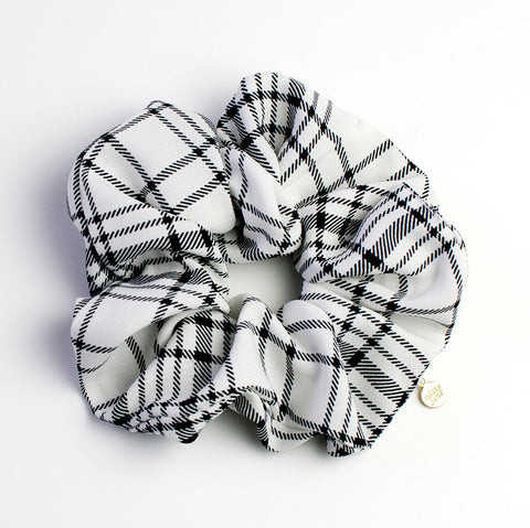 Black and White Plaid Oversized Scrunchie