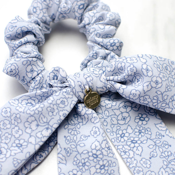Blue Floral Long Bow Scrunchie