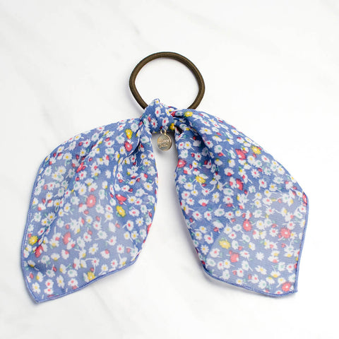 Blue Floral Scarf Ponytail Holder