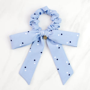 Light Blue Polka Dot Long Bow Scrunchie