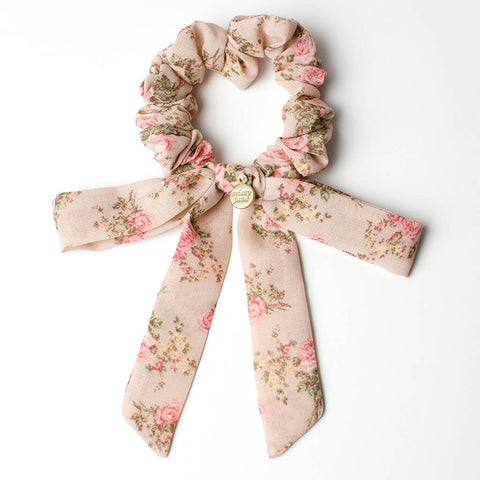 Blush Vintage Floral Mini Long Bow Scrunchie