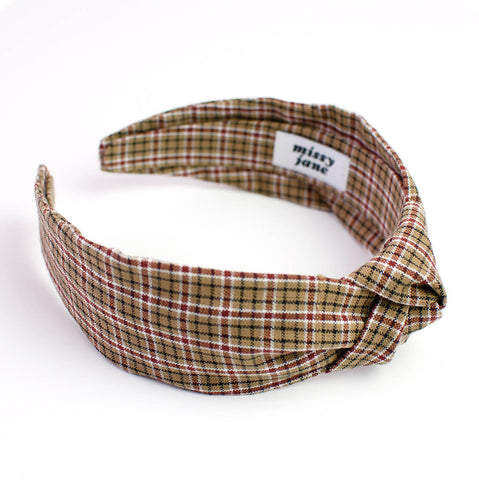 Brown Plaid Knotted Headband