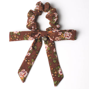 Brown Vintage Floral Mini Long Bow Scrunchie