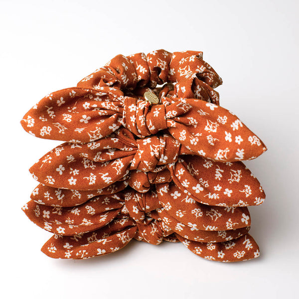 Burnt Orange Floral Knotted Bow Scrunchie