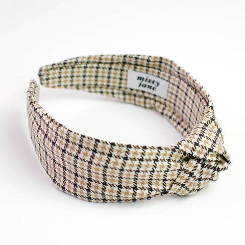 Camel Houndstooth Plaid Knotted Headband