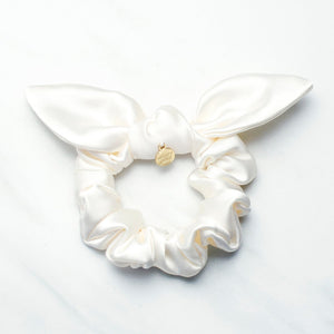 Ivory Satin Knotted Bow Scrunchie