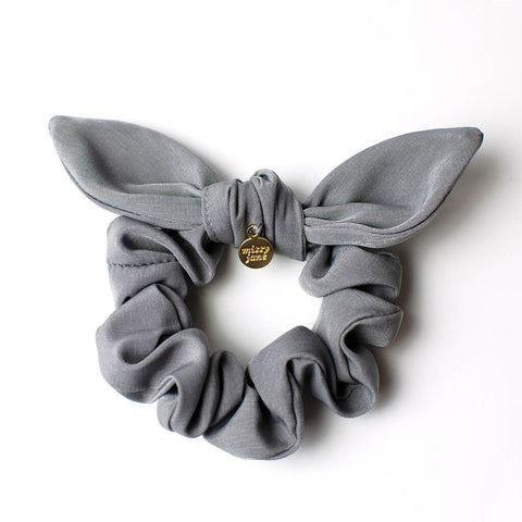 Gray Knotted Bow Scrunchie