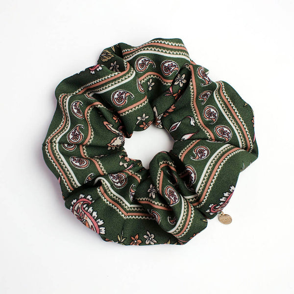 Green Paisley Floral Oversized Scrunchie