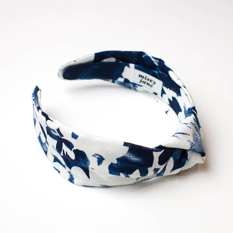 Blue Floral Knotted Headband