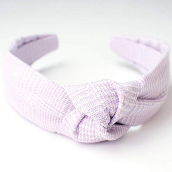Lavender Glen Plaid Knotted Headband