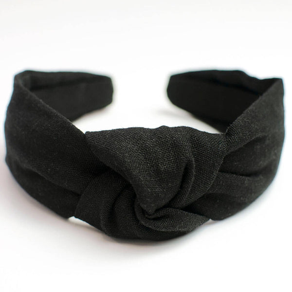 Black Linen Knotted Headband