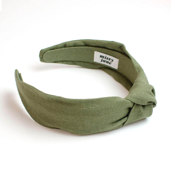 Olive Linen Knotted Headband