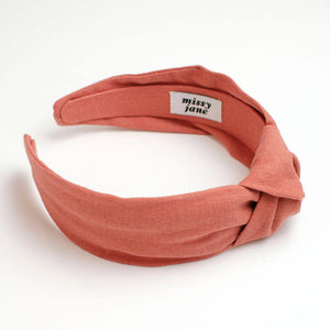 Orange Clay Linen Knotted Headband