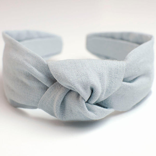 Vintage Blue Linen Knotted Headband