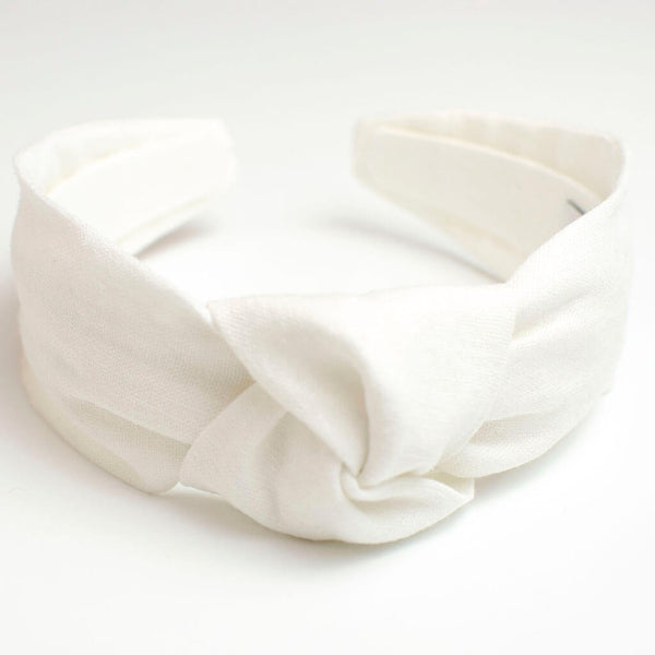White Linen Knotted Headband