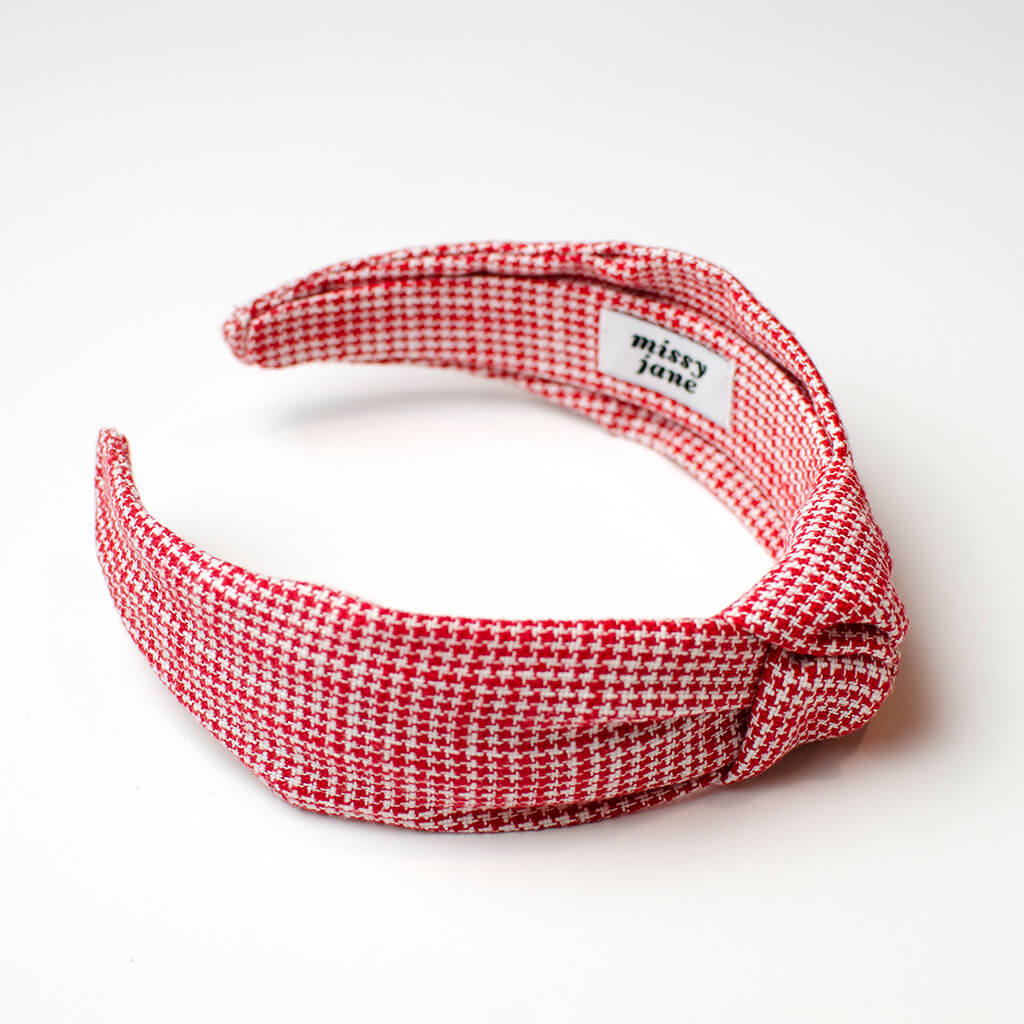Red Houndstooth Check Knotted Headband