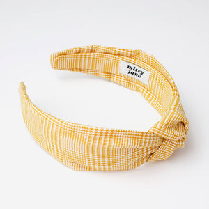 Sunflower Yellow Glen Plaid Knotted Headband