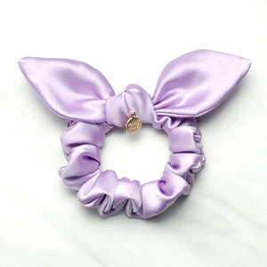 Lavender Satin Knotted Bow Scrunchie