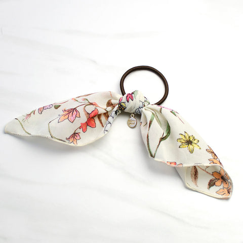 Multi Color Floral Print Scarf Ponytail Holder