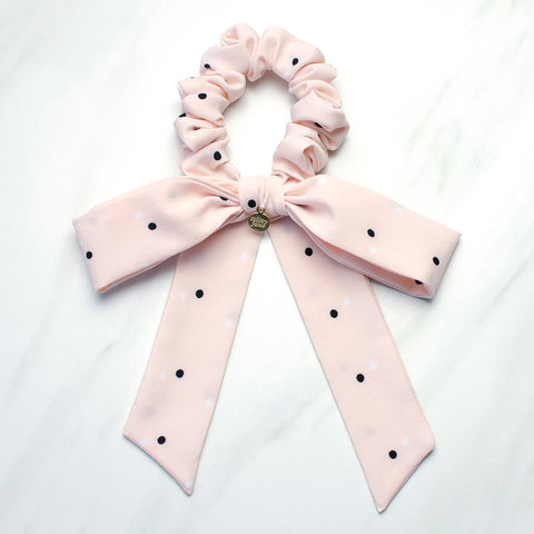 Pale Pink Polka Dot Long Bow Scrunchie