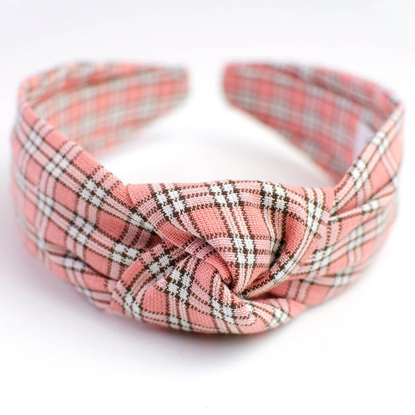 Pink Plaid Knotted Headband