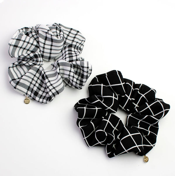 Black and White Grid Oversized Scrunchie