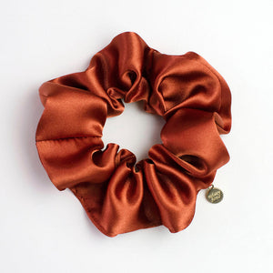 Burnt Orange Satin Scrunchie