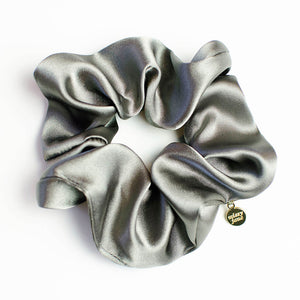 Graphite Satin Scrunchie