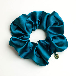 Peacock Blue Satin Scrunchie