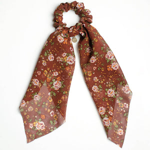 Brown Vintage Floral Scarf Scrunchie