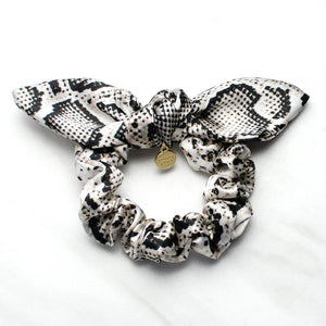 Snakeskin Print Satin Knotted Bow Scrunchie