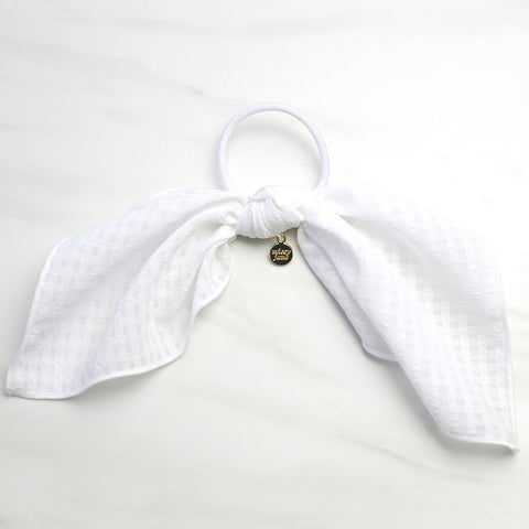 White Gingham Scarf Ponytail Holder