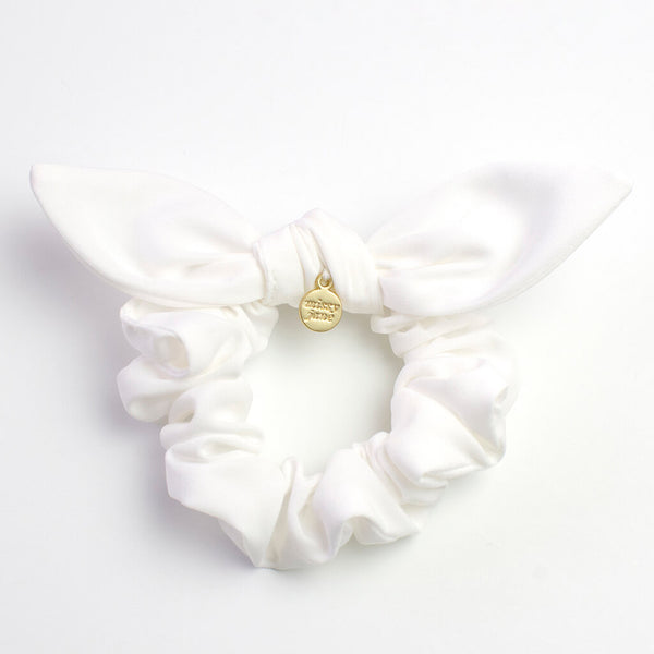 White Knotted Bow Scrunchie
