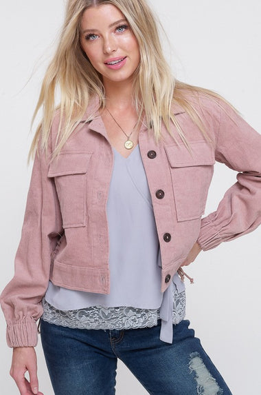 Corduroy Button Down Jacket (Mauve)