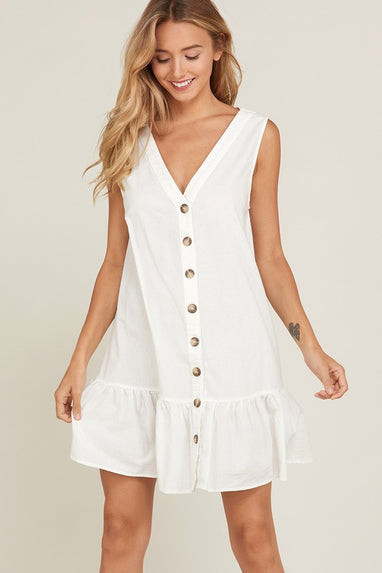 Ruffle Hem Shift Dress (Ivory)