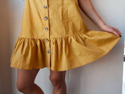 Ruffle Hem Shift Dress (Mustard)