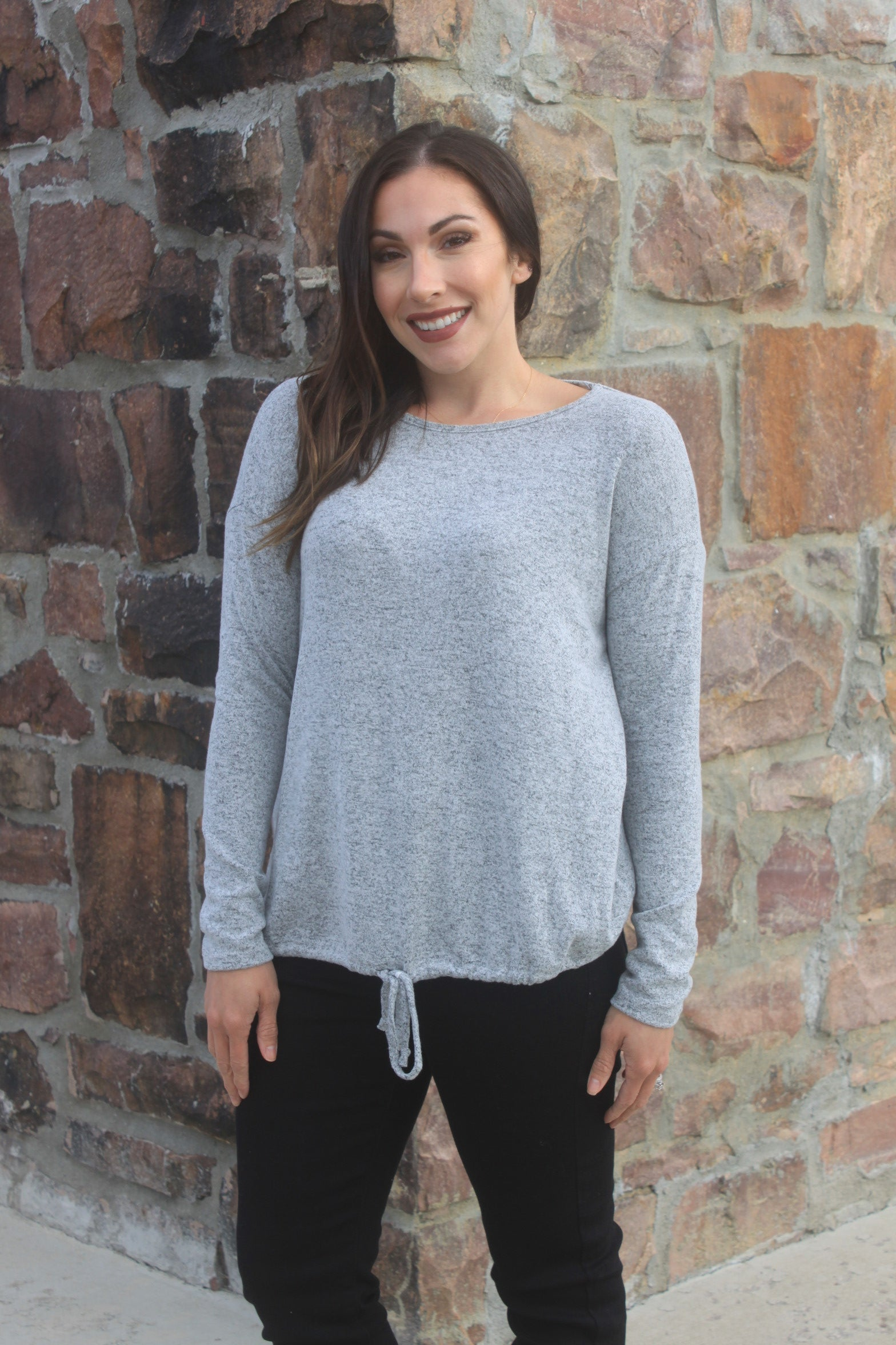 Grey Drawstring Hem Top