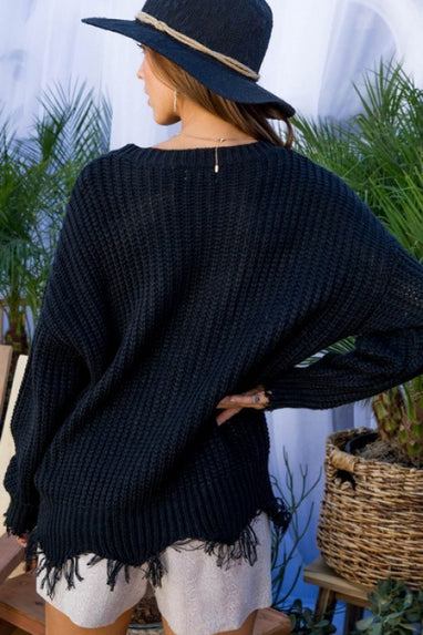 Black Distressed Knit Sweater