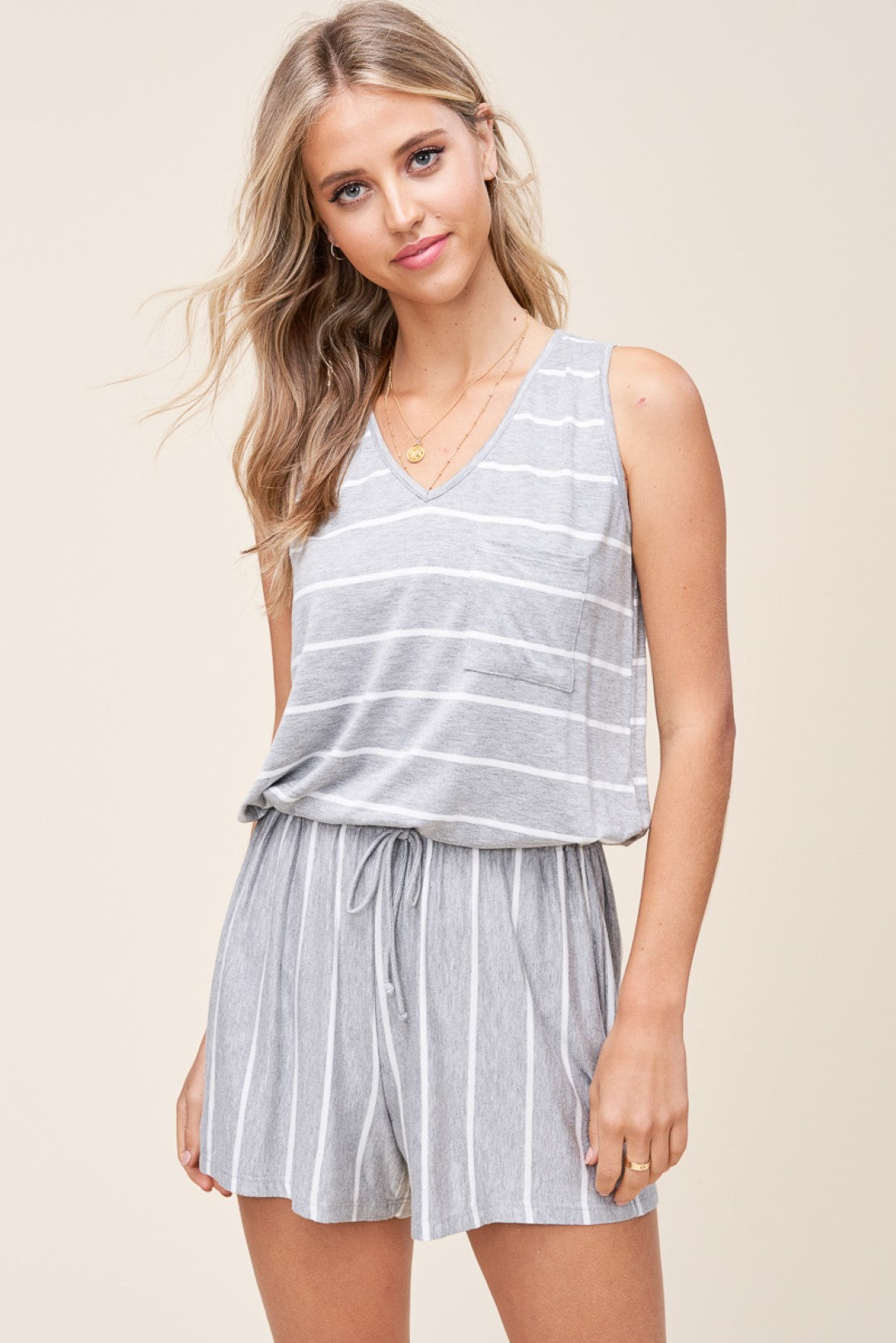 Grey & White Striped Romper