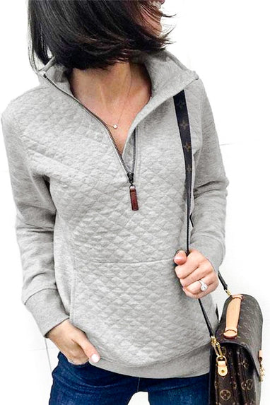 Grey Quilted Pullover