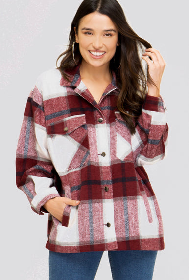 Wine Plaid Shacket