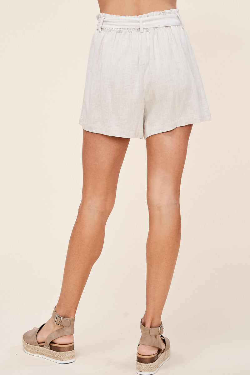 Ready or Knot Linen Shorts in Natural