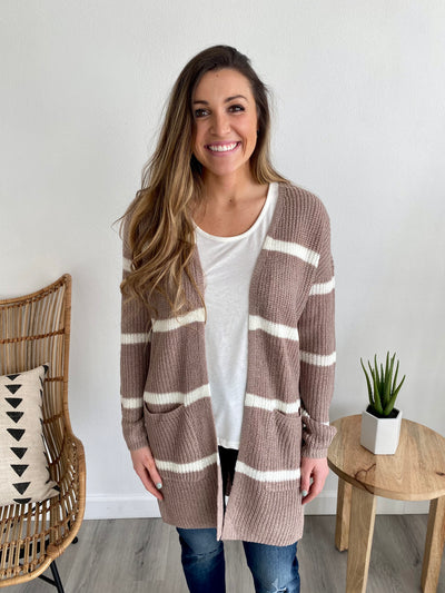 Mocha Striped Cardigan