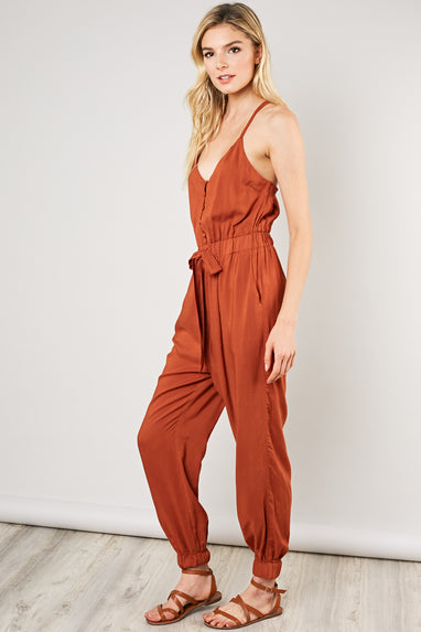 Button Front Jumpsuit (Saffron)