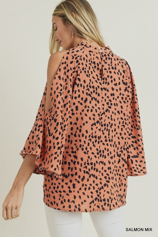Salmon Shoulder Slit Top