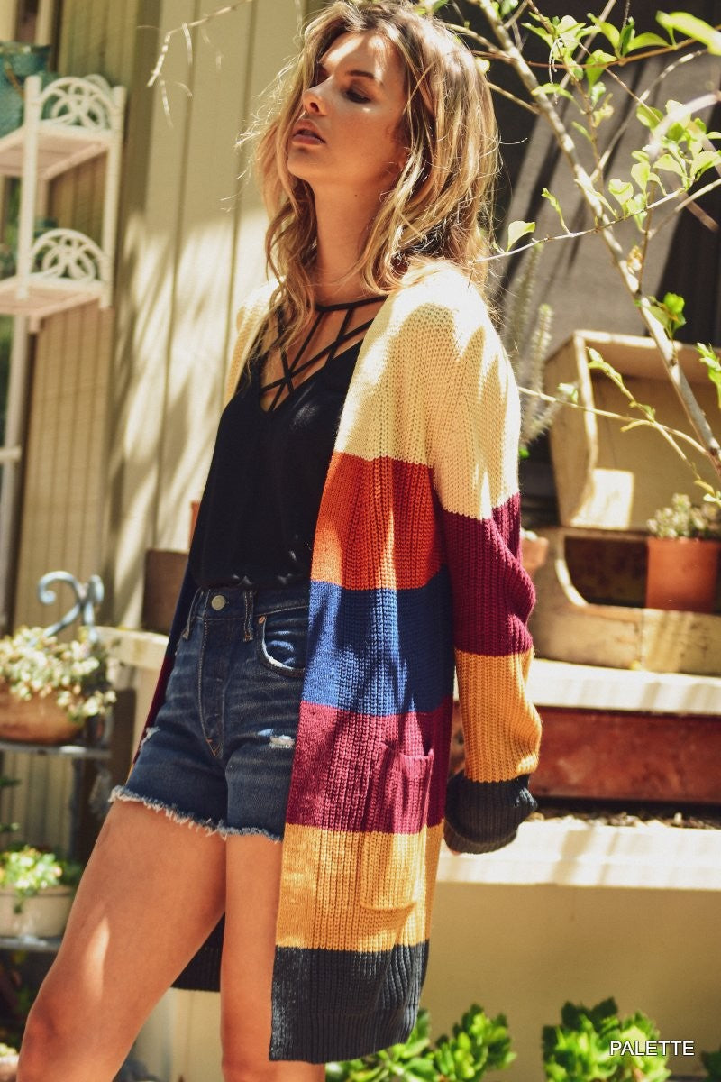 Brighter Days Striped Knit Cardigan